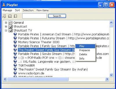 VLC Media Player Playlist > Shoutcast TV