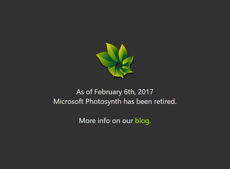 Microsoft Photosynth has been retired on February 6, 2017