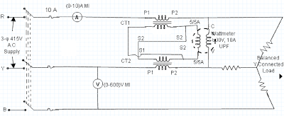 Measurement of 3-Phase Power Using 2 CTs and 1 Wattmeter 1