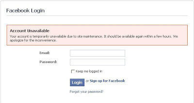 Facebook Login - Your Account is Temporarily Unavailable Due to Site Maintenance 1