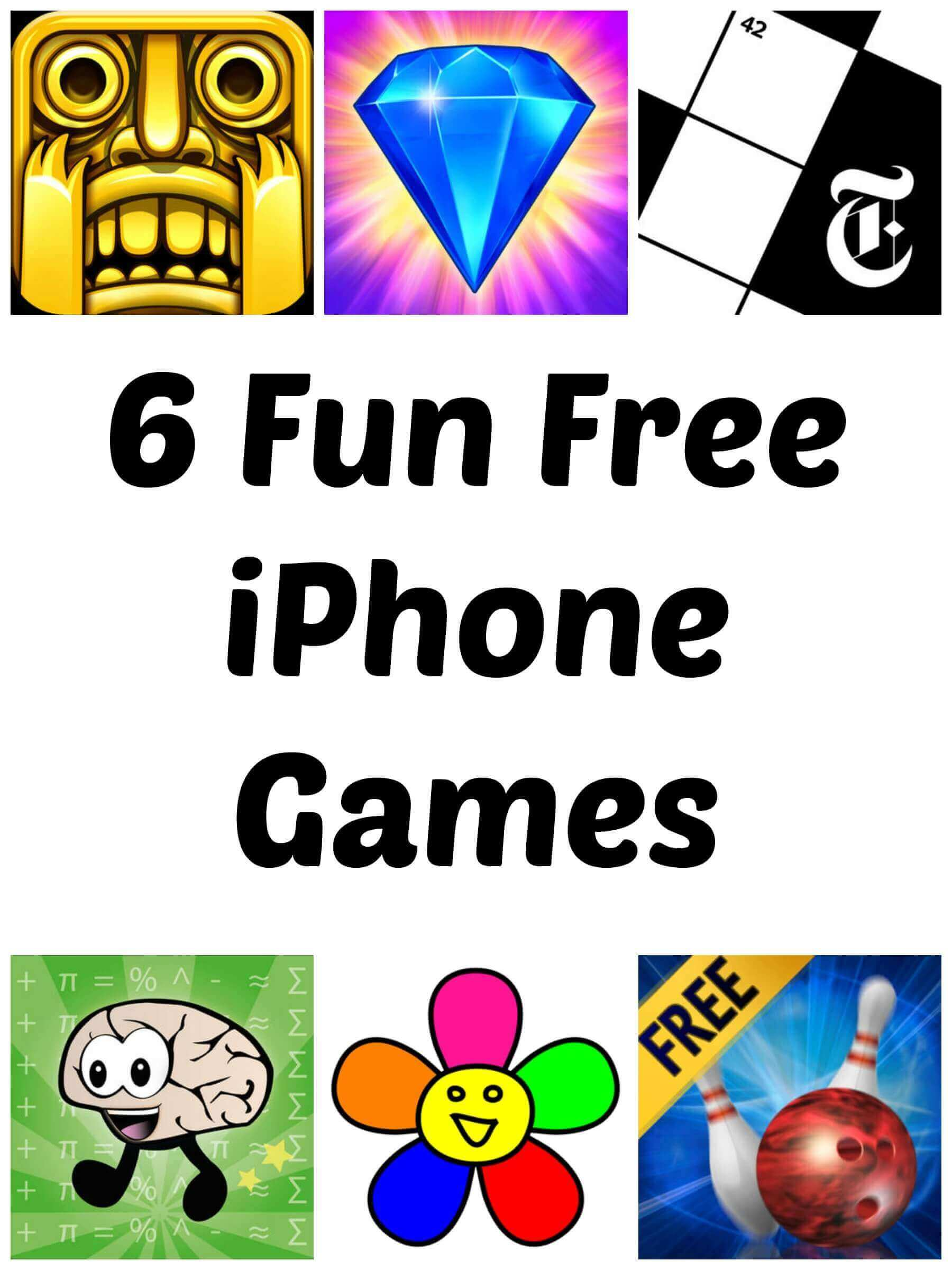 6 Fun Free iPhone Games - Temple Run, My Coloring Book, BrainTuner, Action Bowling, Bejeweled and NYTimes Crossword - Daily Word Puzzle Game