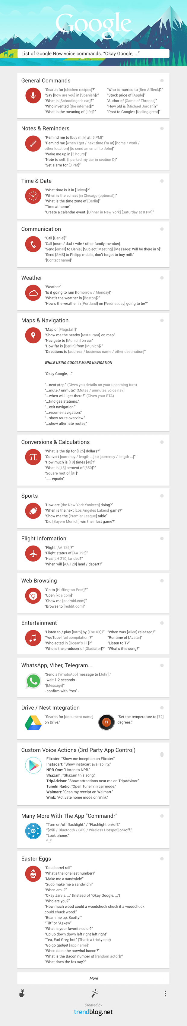 Google Now voice commands list infographic