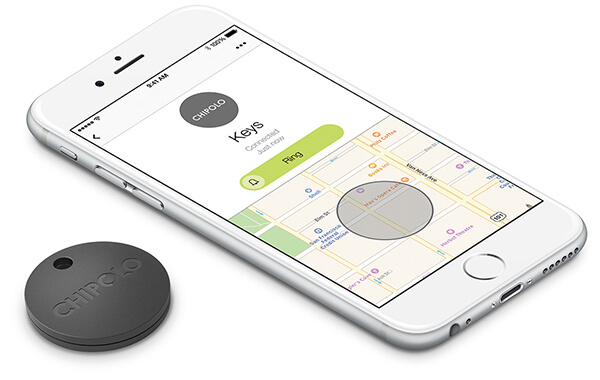 Phone with Chipolo App and Chipolo Bluetooth Tracker