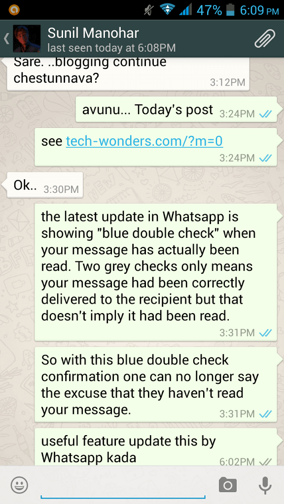 WhatsApp Messages Screenshot Showing Blue Ticks Message Read Confirmation