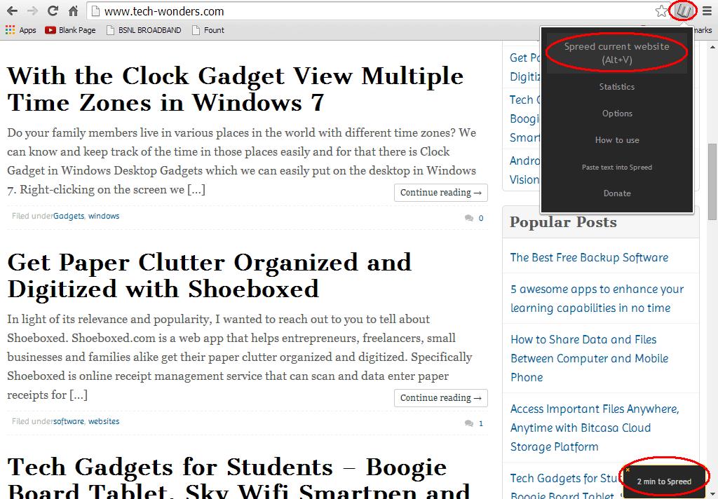 Spreed Chrome Extension on Tech-Wonders.com