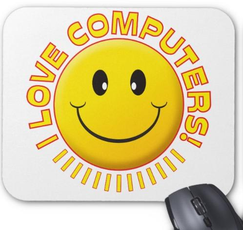 I LOVE COMPUTER MOUSE SMILE PAD