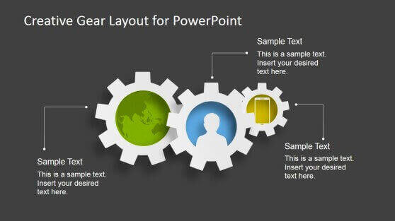 gears powerpoint creative ppt template 3 best process gear shapes for powerpoint