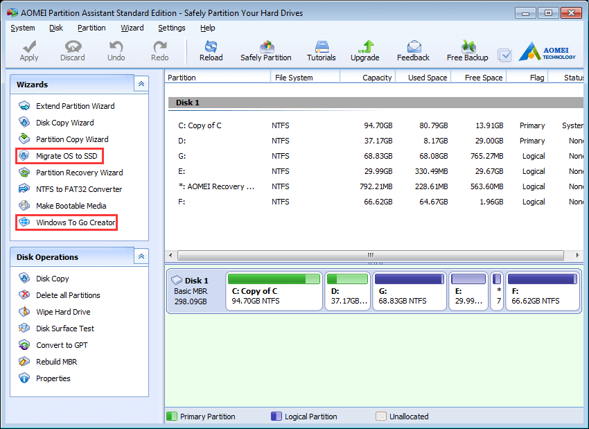AOMEI Partition Assistant Standard Edition - Safely Partition Your Hard Drives, Migrate OS to SSD,  Windows To Go Creator