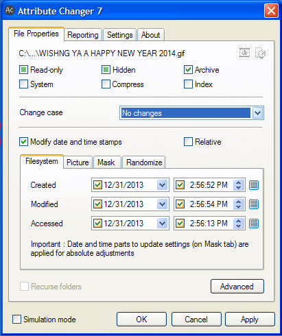 Easily Change File and Folder Attributes with Attribute Changer Tool 8