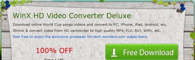 Video Download and Convert Software WinX HD Video Converter Deluxe Giveaway 1