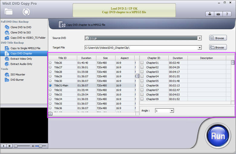Copy DVD chapter to a MPEG2 file