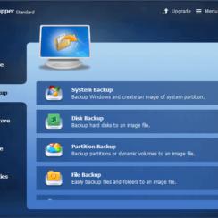 Backup Options in AOMEI Backupper Standard - System Backup, Disk Backup, Partition Backup, File Backup