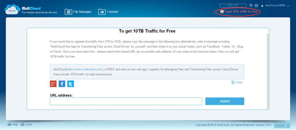 MultCloud - How to Get 10TB Traffic for Free
