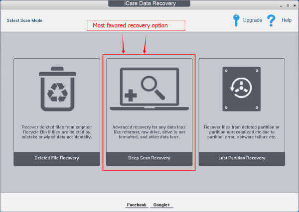 iCare Data Recovery Free data recovery modes - Deleted File Recovery, Deep Scan Recovery and Lost Partition Recovery
