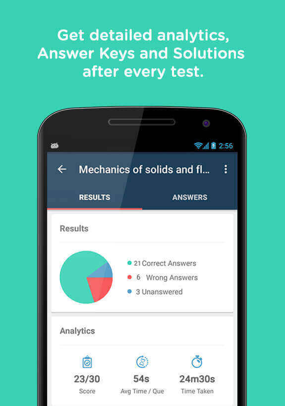 Entr Android App Detailed Analytics, Answer Keys and Solutions After Every Test