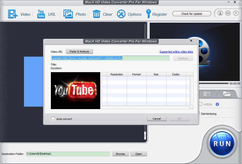 MacX HD Video Converter Pro for Windows can download YouTube video free and covert YouTube video to AVI, MP4, MOV