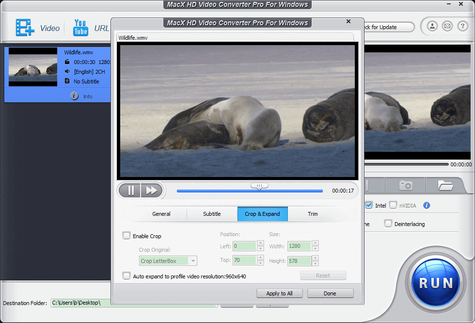 Video Editing features of MacX HD Video Converter Pro for windows