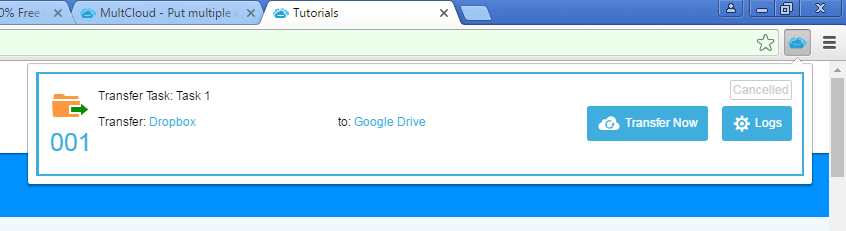 Task Manager of MultCloud's Google Chrome Extension