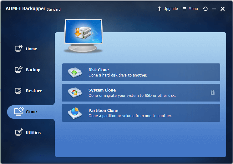AOMEI Backupper 3.5 Clone Tab Options - Disk Clone, System Clone, Partition Clone