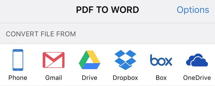Using PDF to Word app you can import and convert PDF files from Gmail, Google Drive, Dropbox, OneDrive and Box