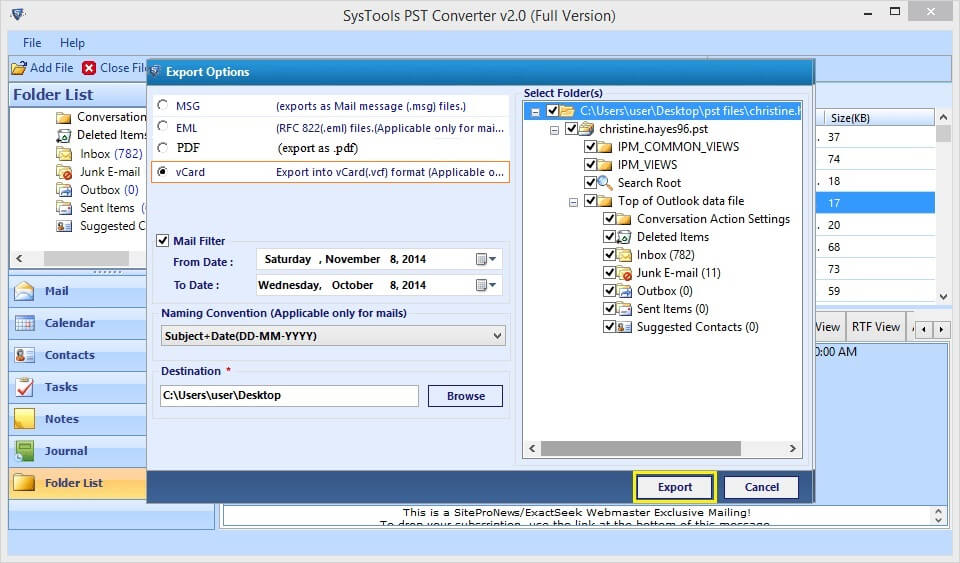SysTools PST Converter - Export Outlook PST file contacts into vCard(.vcf) format