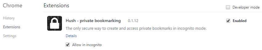 Hush private bookmarking extensions - Allow in Incognito