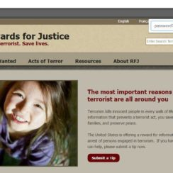 Password protect and secure bookmark of Rewards for Justice website using hush private bookmarking extension