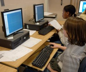 Students learn on their computers in School - that is, students learn how to use computers and other technology to learn faster from an early age.