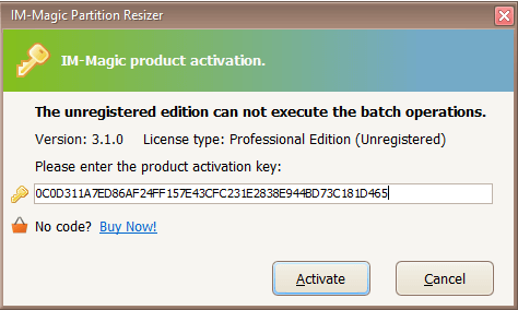 IM-Magic Partition Resizer Version 3.1.0 - Professional Edition Activation Key: 0C0D311A7ED86AF24FF157E43CFC231E2838E944BD73C181D465