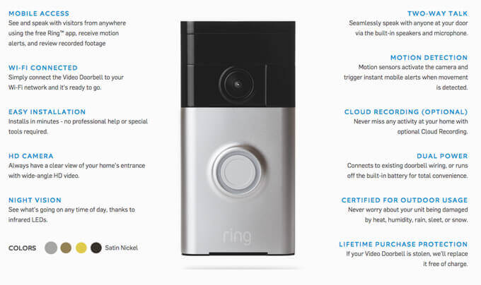 Ring Video Doorbell Key Features