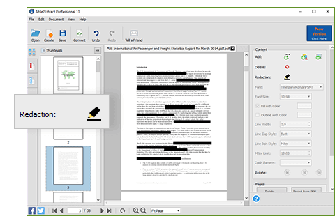 Able2Extract Professional 11 PDF Redaction feature hides any sensitive data by blacking out the text