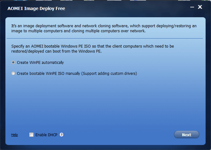 FREE Image Deployment Software and Network Cloning Software AOMEI Image Deploy interface screenshot