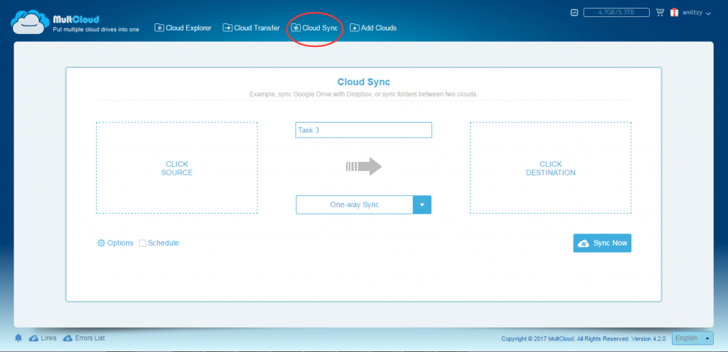 MultCloud Cloud Sync Interface. Sync Google Drive with Dropbox, or sync folders between two clouds.