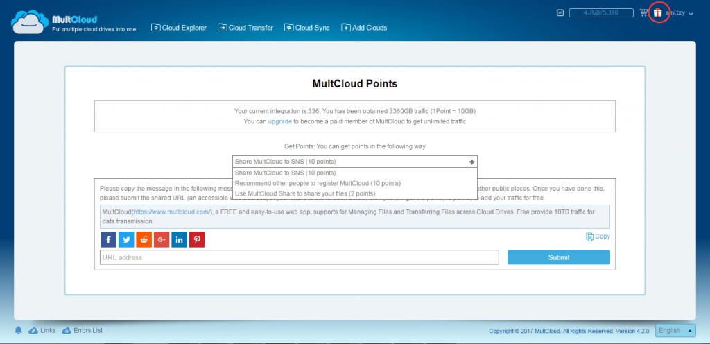 MultCloud Points interface