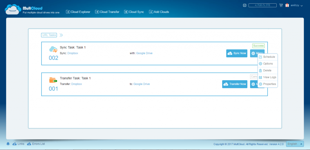 MultCloud Task Manager interface showing transfer task and sync task