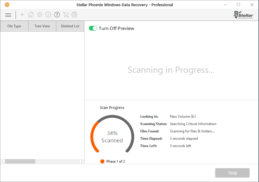 Stellar Phoenix Windows Data Recovery Professional - Scan Progress - Turn Off Preview