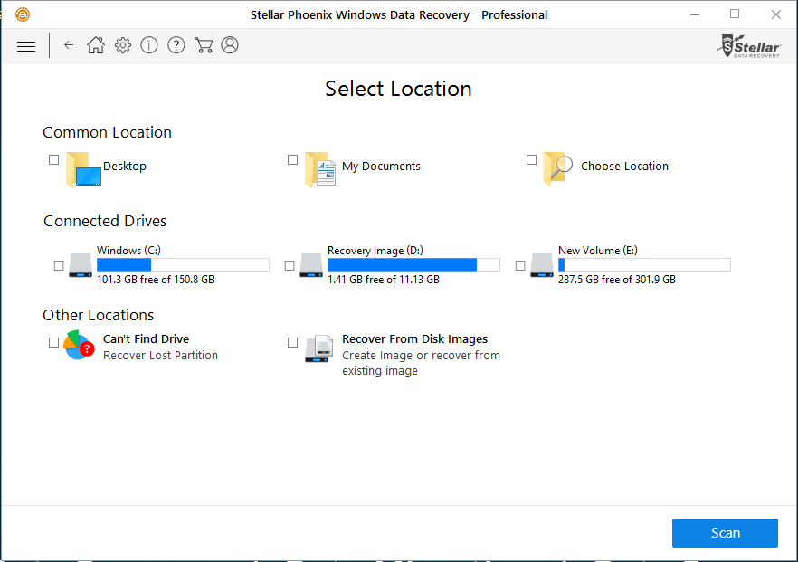 Stellar Phoenix Windows Data Recovery Professional - Select Location interface