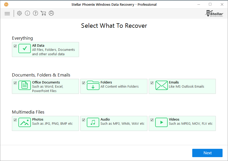 Stellar Phoenix Windows Data Recovery Professional user-friendly interface - Select What to Recover