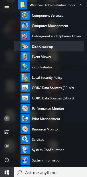 How to Recover Disk Space on Windows 10 - Windows Administrative Tools > Disk Clean-up