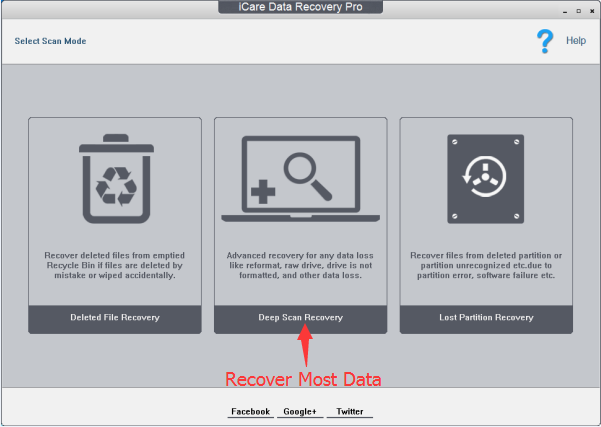 Three Well-Designed Data Recovery Scan Modes of iCare Data Recovery Pro - Deleted File Recovery, Deep Scan Recovery, Lost Partition Recovery will help you recover deleted/lost files back after WannaCry ransomware virus cyber attack.