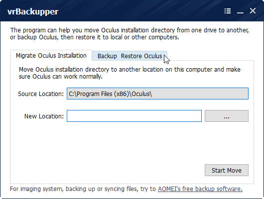 vrBackupper can move Oculus Rift installation directory from one drive to another