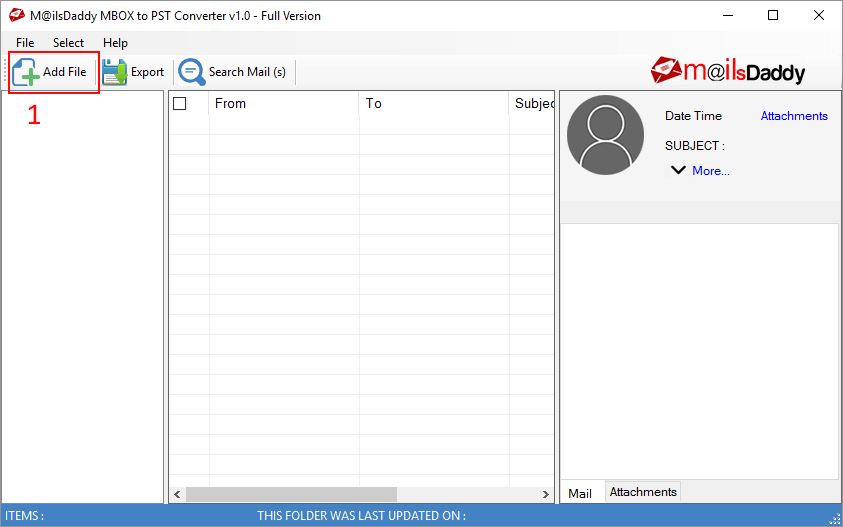 MailsDaddy MBOX To PST Converter - Add MBOX file to convert to PST format