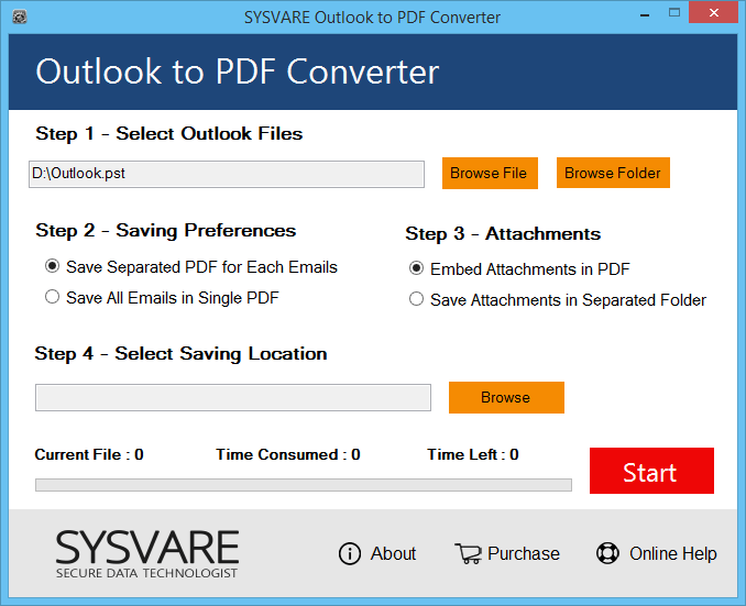SysVare Outlook to PDF Converter screenshot