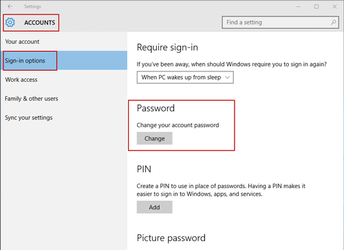 Windows System Settings - Manage Your Account Sign-in Options