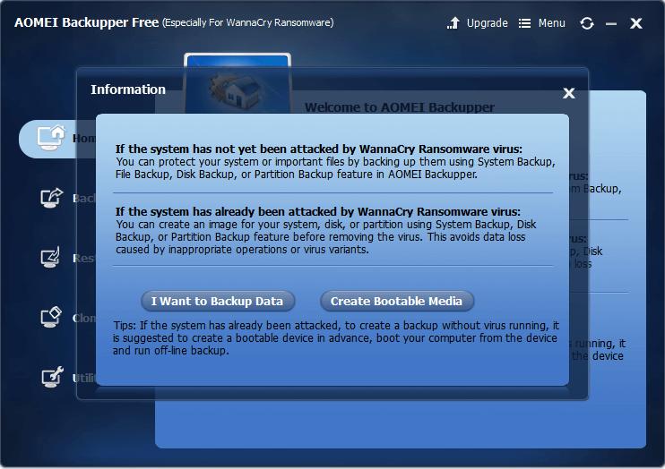 AOMEI Backupper Free (Especially for WannaCry Ransomware Virus)