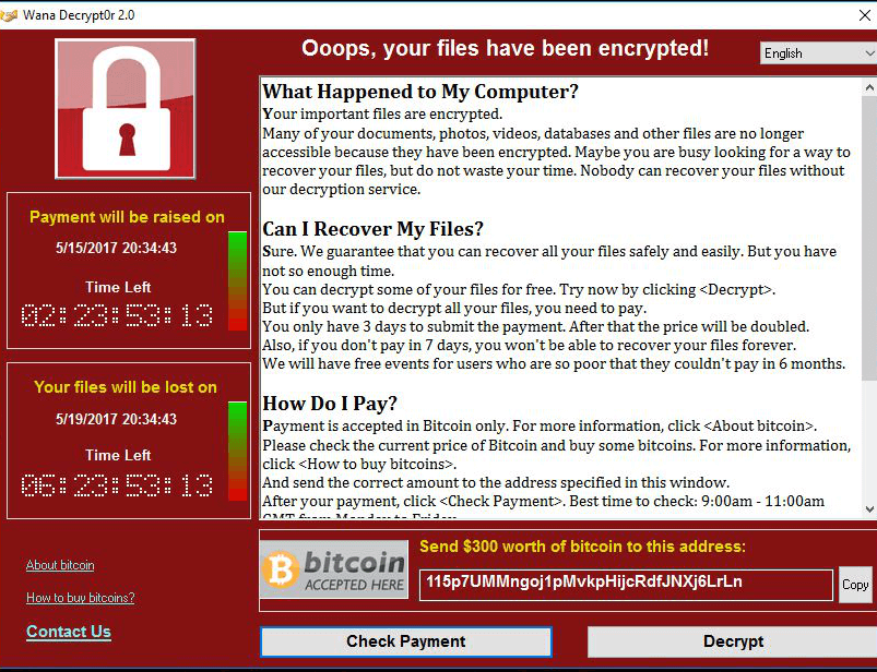 WannaCry Ransomware Virus Attack - Oops, your files have been encrypted