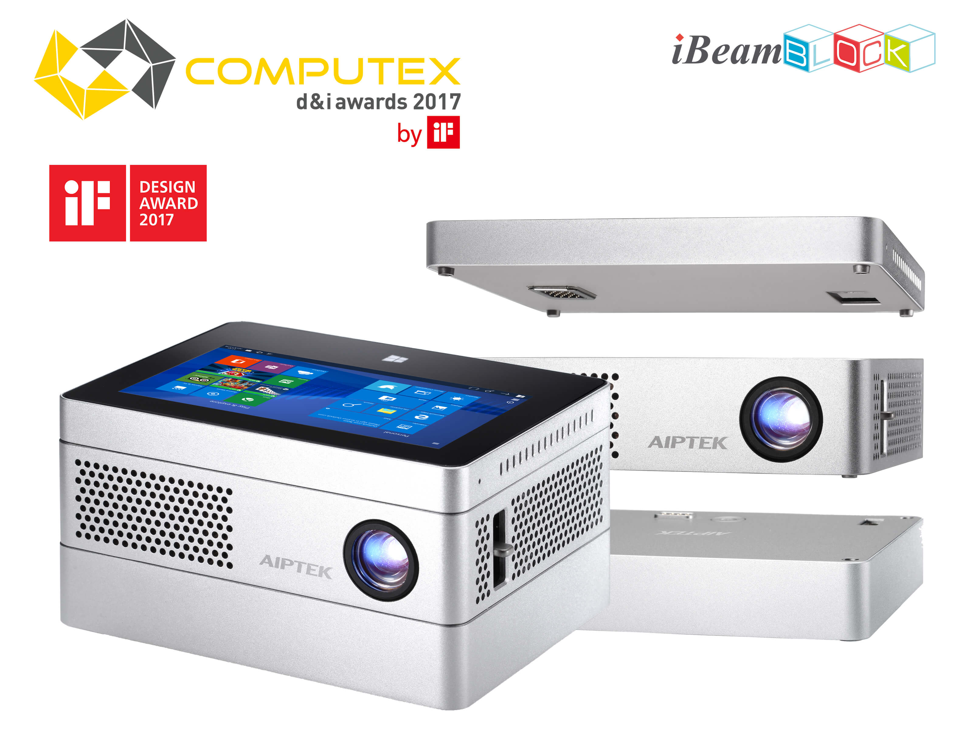 Aiptek iBeamBLOCK Modular Computing Projector - iF Design Awards 2017 Winner - Computex d&i Awards 2017 Winner