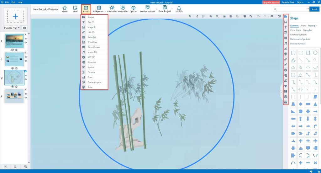 New Focusky Presentation - Insert multimedia objects into your animated presentation