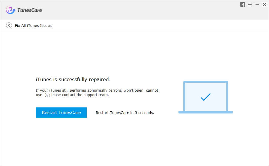 iTunes is successfully repaired by TunesCare iTunes Repair Tool