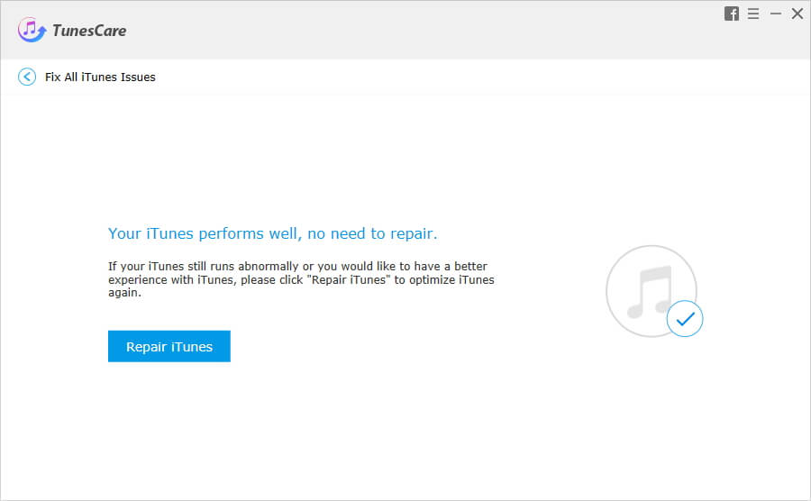 TunesCare - Fix All iTunes Issues. Repair iTunes. Your iTunes performs well.